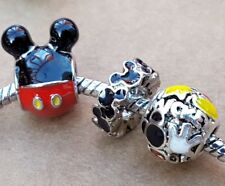 Disney Playful Mickey Mania Black Mouse Ears Red Pants European Bead Charms Set
