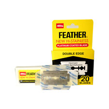 20 FEATHER Hi-Stainless Platinum Coated Double Edge Razor Blades - Made in Japan