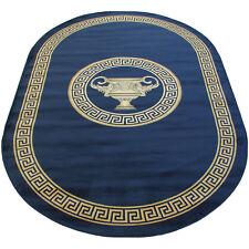 Mäander Teppich Oval Blau 152x230 K-Seide Medusa Carpet Rug Black versac