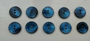 10 new Burberry London mother of pearl 24L/15mm 2 hole buttons in sapphire