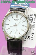 MTP-1183E-7A Silver White Casio Watch Genuine Leather Band Date Display Analog