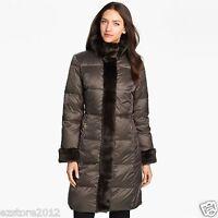 New $360 Ellen Tracy Women's Knee-Length Down Coat Jacket Parka - Faux Fur Trim