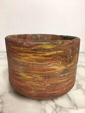 Old Agateware Pottery Vase Swirled Pot Earthenware Terracotta