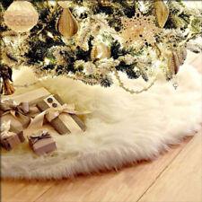 Long Plush Christmas Tree Skirt Base Floor Mat Cover XMAS Party Decor