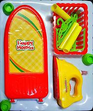 Toy Iron Set Lights & Sound Laundry Ironing Board Basket Kids Girls Pretend Play