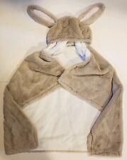 Pottery Barn Kids Baby Infant Toddler Hooded Bunny cream  pink ear fleece Towel