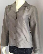 Womens J Jill 100% Silk Brown Long Sleeve Button Down Shirt Top Blouse XS S M