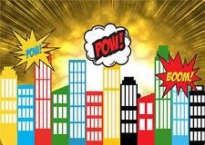 Photo Background Super Hero City Cartoon Vinyl Photography Backdrops Kids 7x5FT