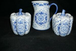 Vintage 1989 FLORA SEYMOUR MANN Blue & White Floral Pitcher and two Jars