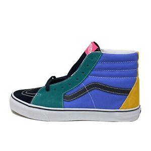 Vans Sk8 Hi Men's 13 Mix and Match Green Yellow Skate Shoes New Black Blue