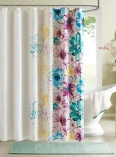WATERCOLORS SHOWER CURTAIN : BLUE PURPLE GREEN YELLOW FLORAL LARGE FLOWERS