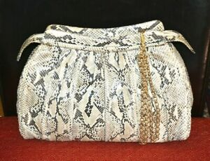 AUTHENTIC AND CHIC VINTAGE JUDITH LEIBER EXOTIC PYTHON LARGE CLUTCH BAG.