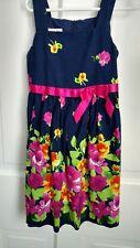 Jessica Ann Girls Size 6 Navy & Pink Floral Dress poly cotton blend