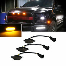 3pc Smoked Lens12-SMD LED Lamps For Ford Raptor Amber Front Grill Running Lights