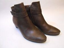 ECCO Women Leather Ankle Zip Boots Shoes Size 39 Brown