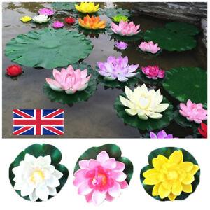 5pcs Artificial Lotus Flowers Lily Pad Floating Aquarium Pond Plants Ornament