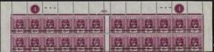 CEYLON: George V 5c Violet 12 x 2 Block War Stamp Overprint - Plate No.4 (41890)