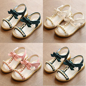 Baby Kids Girls Child Casual Summer Bow Flats Roman Pearl Beach Sandals Shoes