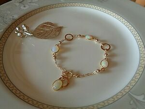 Gold Armband mit Opal, 585 Gold Filled, Ring Elemente