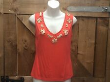 NEW KALEIDOSCOPE CORAL VEST TOP WITH SHELL EDGING SIZE 10