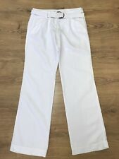 Tommy Hilfiger Womens Rome Regular Fit Linen Blend White Trousers Size 6