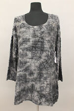 EXELLE PLUS PULLOVER WEB L/S A LINE FIT STUDDED BLOUSE GRY Sz Sm US 14 $ 300 NWT