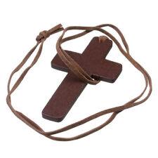 Pendente croce legno colore marrone con cordino come da foto - spedizione Italia
