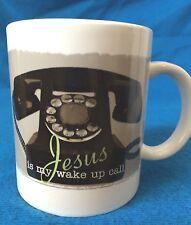 Jesus is my wake up call telephone coffee mug cup. Very Good Condition.