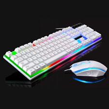 Rainbow LED Backlight Usb Ergonomic Gaming Keyboard Mouse Set for PC Laptop RF
