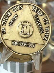 Alcoholics Anonymous 41 Year Recovery Coin Chip Medallion Medal Token AA Bronze