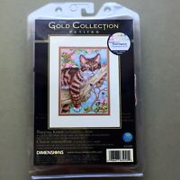 Napping Kitten counted cross stitch kit cat tree bee Dimensions Gold Petites new