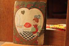 ca. 1900's Antique Valentine's Day Card Die Cut Embossed kitchen Stove