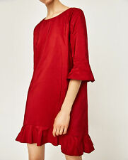 Zara BNWT Red Shift Dress with Frill, V Back, 3/4 Sleeves, S / UK 8-10-12