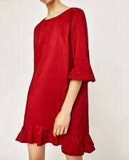 Zara BNWT Red Shift Dress with Frill, V Back, 3/4 Sleeves, S / UK 8-10-12