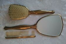 Antique 3 piece Art Deco Vanity Set Brush Comb Hand Mirror Htf Dresser Top Set