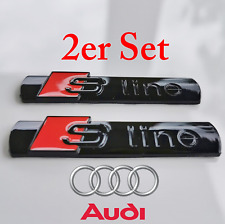 2x S-Line Emblem schwarz glänzend Schriftzug Logo Badge Kotflügel glanz Audi