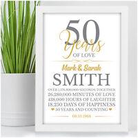 50th Wedding Anniversary Gifts 50 Years Personalised Golden Wedding Anniversary