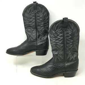 USA Made Bull Hide Boots Round Toe Ranch Leather Western Cowboy Black Men 12C