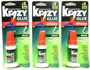 3-Pk Krazy Glue Brush Applicator Crazy Adhesive All Purpose Krazy Strong 009255