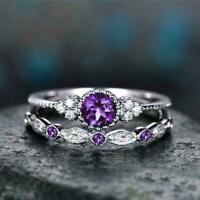 Natürliche Amethyst Sapphire Ring Schmuck mit Edelstein Hochzeit Ringe Part M9T8