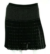 ROBERTO CAVALLI $1,700 Black Knit Studded Fringe Effect Mini Skirt 38