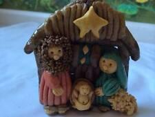 Vintage 1982 Baby Jesus In Manger Homemade Bread / Salt Dough Ornaments