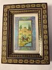 Vintage Persian Khatam Inlay Tile Frame & Hand-Painted Tile Equestrian Painting