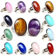 10 pcs 1 Lot Natural Agate Amethyst Moonstone Quartz Gem Silver Adjustable Rings
