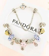 """Authentic Pandora Bracelet Silver Bangle with """"Swan's Love"""" European Charms"""