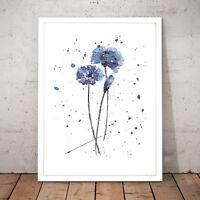 Flower Petals Blue Simple Painting Unique Art Poster Print - A3 A2 A1 A0 Framed