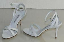 NEW Manolo Blahnik ORITA 90 White Matte Leather Strappy Sandals Heels Shoes 37