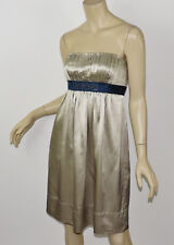BCBG MAXAZRIA Pale Taupe Silk Charmeuse Beaded Empire Waist Strapless Dress S 6