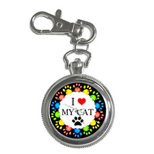 I LOVE MY CAT CAT LOVER'S KEYCHAIN  WATCH **BRILLIANT GIFT ITEM**