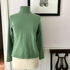 LL Bean Women's  Sweater Size Small 100% Cashmere Turtleneck Green Long Sleeves